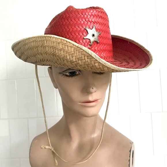 Vintage 60's red straw western sheriff cowboy hat
